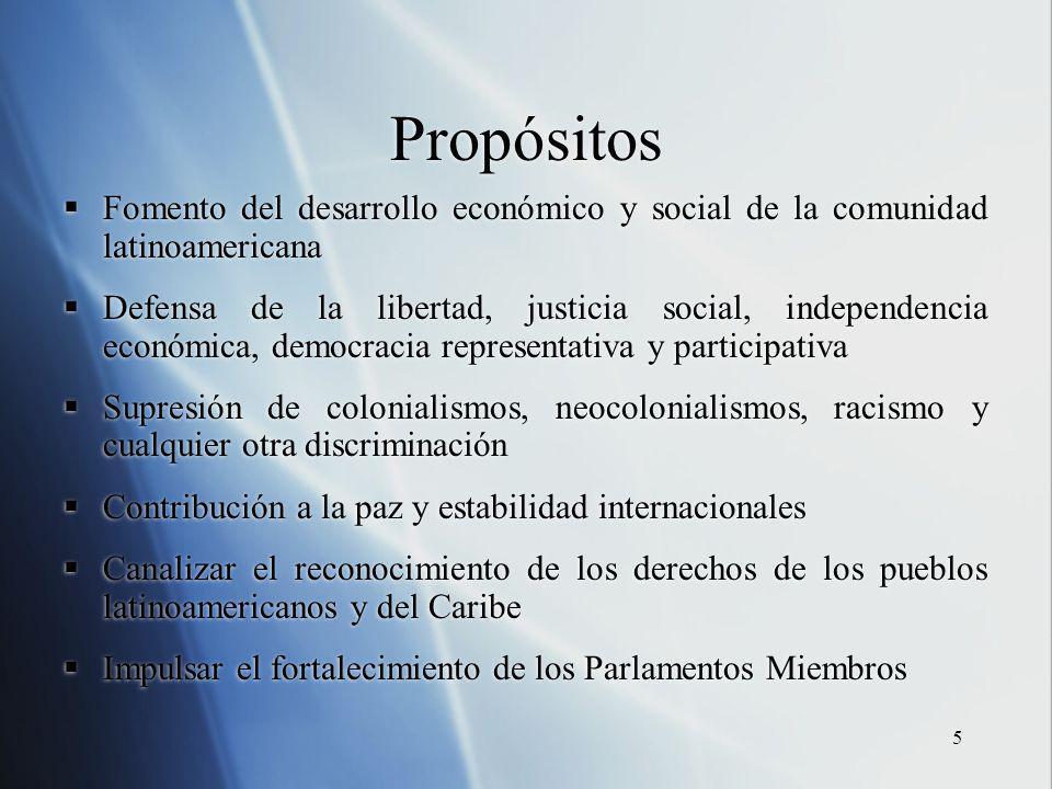 5 Propósitos Fomento del desarrollo económico y social de la comunidad latinoamericana Defensa de la libertad, justicia social, independencia económic