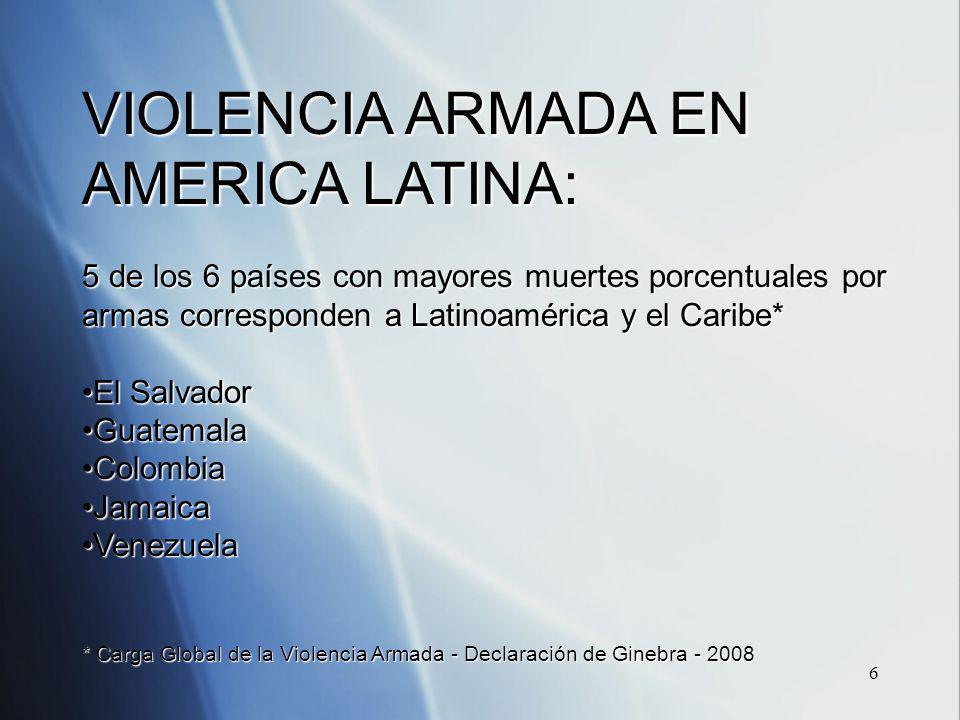 6 VIOLENCIA ARMADA EN AMERICA LATINA: 5 de los 6 países con mayores muertes porcentuales por armas corresponden a Latinoamérica y el Caribe* El SalvadorEl Salvador GuatemalaGuatemala ColombiaColombia JamaicaJamaica VenezuelaVenezuela * Carga Global de la Violencia Armada - Declaración de Ginebra - 2008