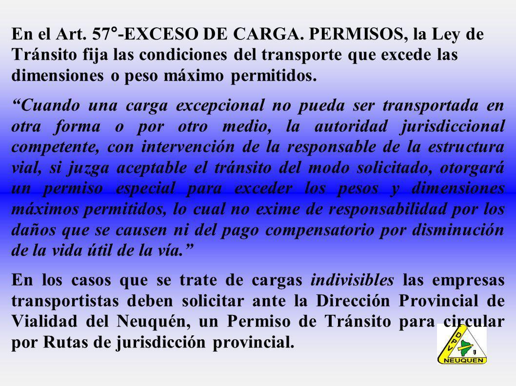 En el Art.57°-EXCESO DE CARGA.