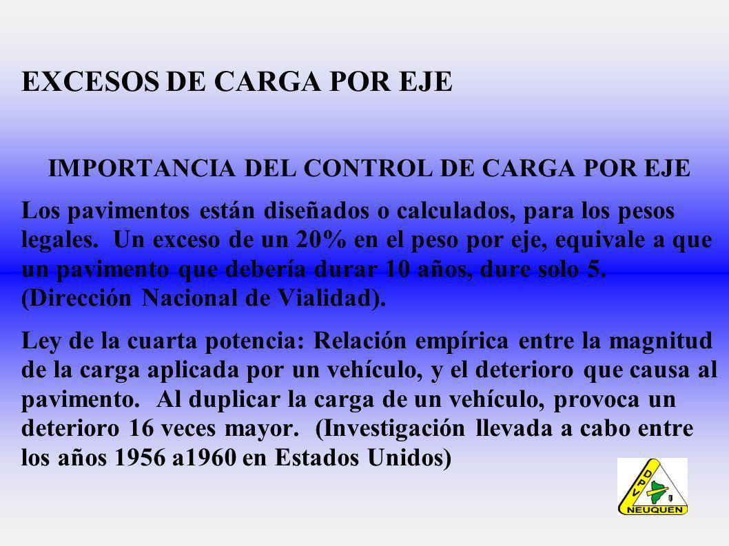 EXCESOS DE CARGA POR EJE IMPORTANCIA DEL CONTROL DE CARGA POR EJE Los pavimentos están diseñados o calculados, para los pesos legales.