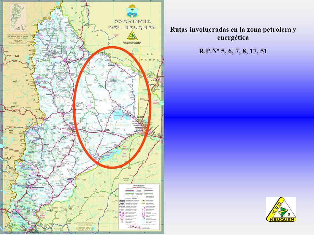 Rutas involucradas en la zona petrolera y energética R.P.Nº 5, 6, 7, 8, 17, 51