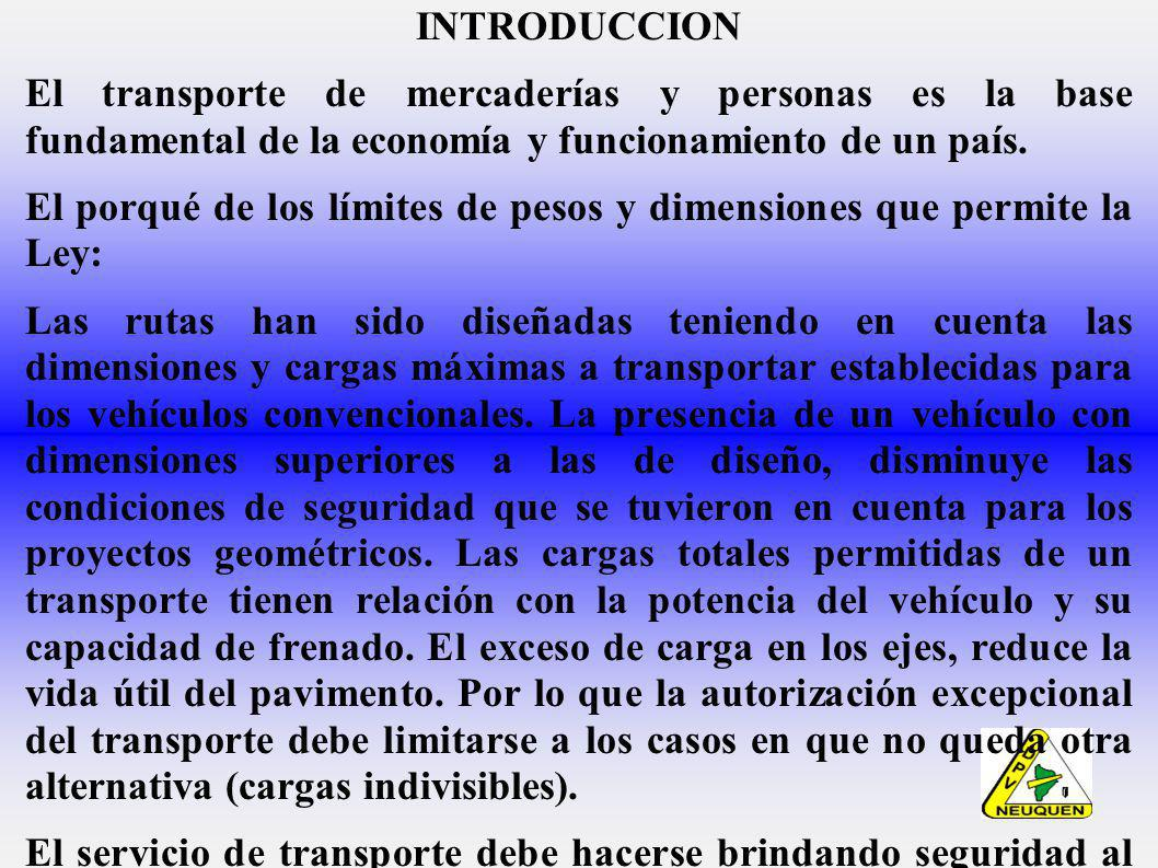 INTRODUCCION El transporte de mercaderías y personas es la base fundamental de la economía y funcionamiento de un país.
