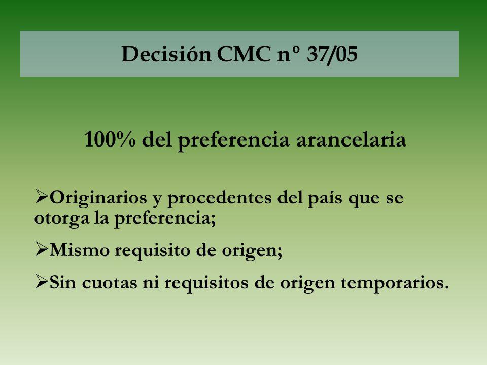 Decisión CMC nº 37/05 100% del preferencia arancelaria Originarios y procedentes del país que se otorga la preferencia; Mismo requisito de origen; Sin