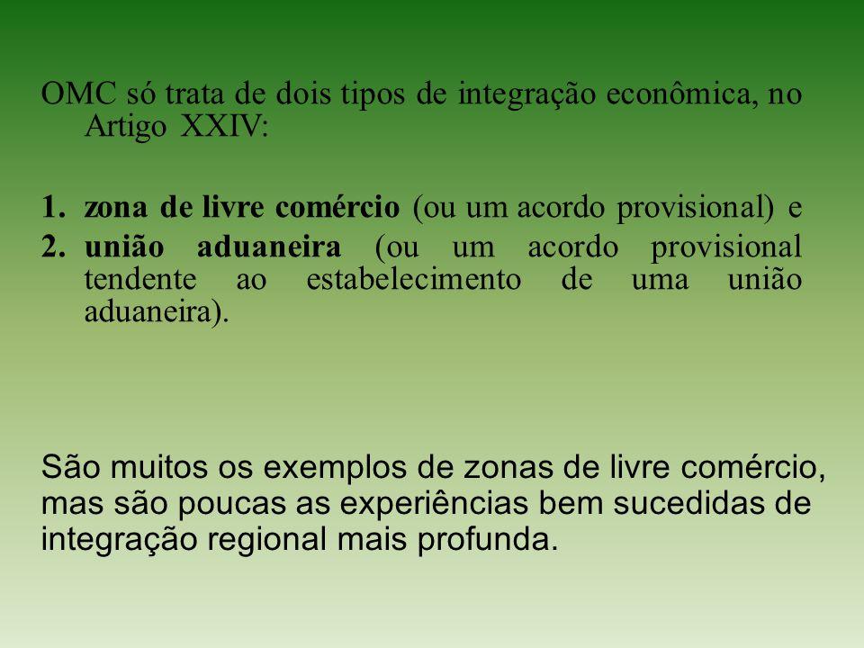 OMC só trata de dois tipos de integração econômica, no Artigo XXIV: 1.zona de livre comércio (ou um acordo provisional) e 2.união aduaneira (ou um aco