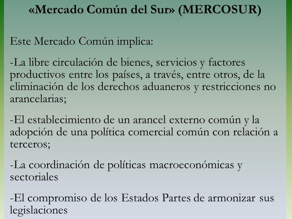 «Mercado Común del Sur» (MERCOSUR) Este Mercado Común implica: -La libre circulación de bienes, servicios y factores productivos entre los países, a t