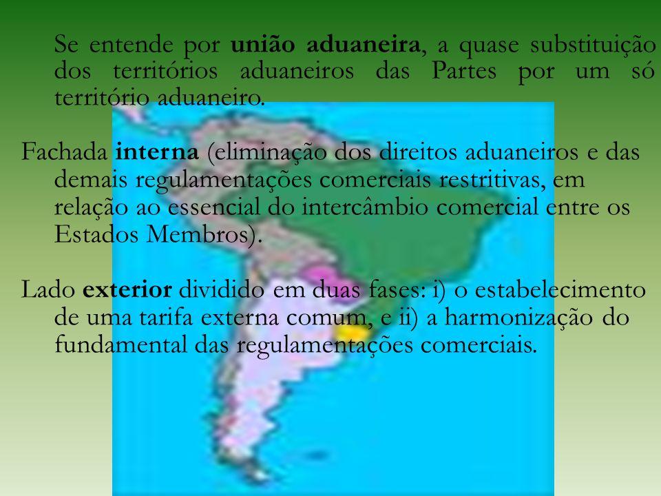 Se entende por união aduaneira, a quase substituição dos territórios aduaneiros das Partes por um só território aduaneiro. Fachada interna (eliminação