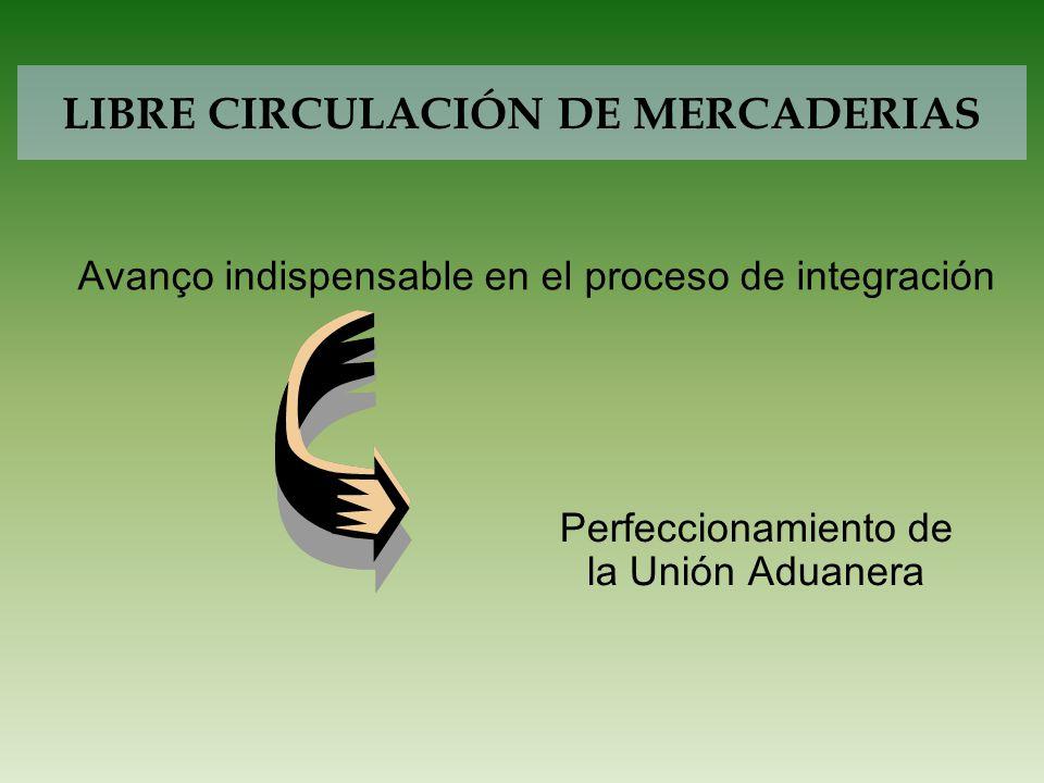 LIBRE CIRCULACIÓN DE MERCADERIAS Perfeccionamiento de la Unión Aduanera Avanço indispensable en el proceso de integración