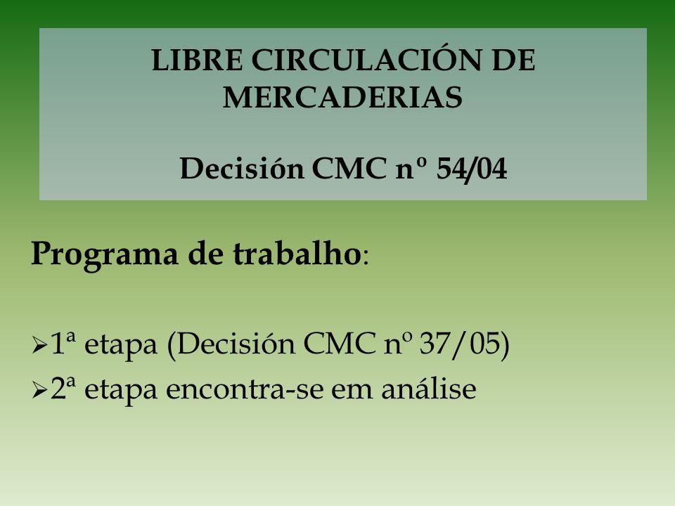 LIBRE CIRCULACIÓN DE MERCADERIAS Decisión CMC nº 54/04 Programa de trabalho : 1ª etapa (Decisión CMC nº 37/05) 2ª etapa encontra-se em análise