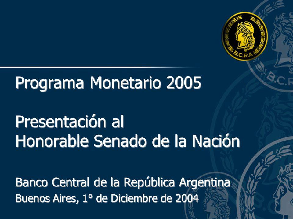 Banco Central de la República Argentina Buenos Aires, 1° de Diciembre de 2004 Programa Monetario 2005 Presentación al Honorable Senado de la Nación