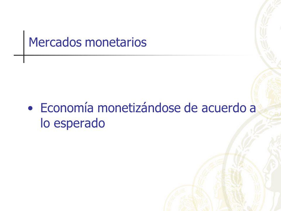 Mercados monetarios Economía monetizándose de acuerdo a lo esperado