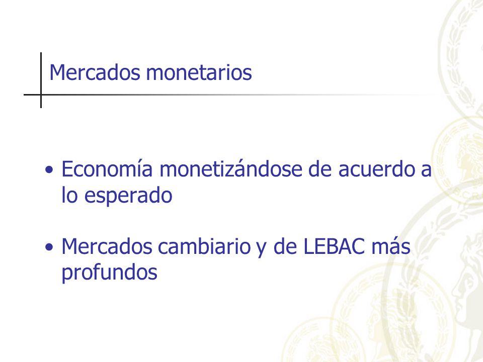 Mercados monetarios Economía monetizándose de acuerdo a lo esperado Mercados cambiario y de LEBAC más profundos