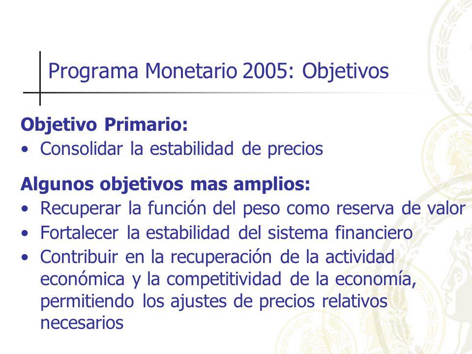 Programa Monetario 2005: Objetivos Objetivo Primario: Consolidar la estabilidad de precios Algunos objetivos mas amplios: Recuperar la función del peso como reserva de valor Fortalecer la estabilidad del sistema financiero Contribuir en la recuperación de la actividad económica y la competitividad de la economía, permitiendo los ajustes de precios relativos necesarios