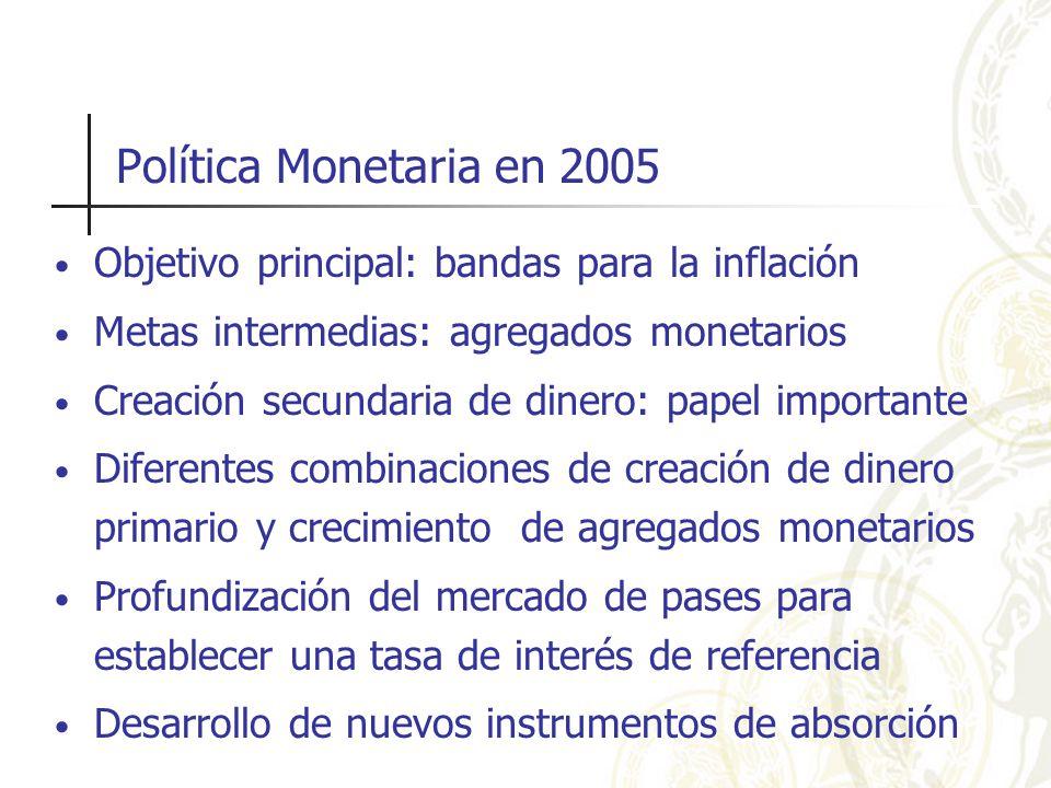 Política Monetaria en 2005 Objetivo principal: bandas para la inflación Metas intermedias: agregados monetarios Creación secundaria de dinero: papel importante Diferentes combinaciones de creación de dinero primario y crecimiento de agregados monetarios Profundización del mercado de pases para establecer una tasa de interés de referencia Desarrollo de nuevos instrumentos de absorción