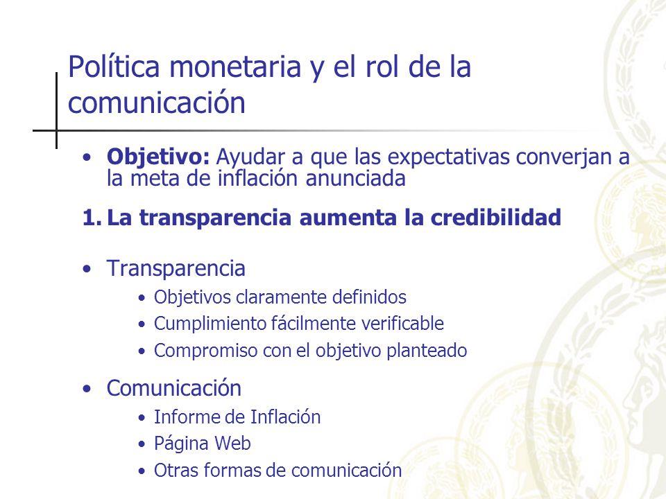 Política monetaria y el rol de la comunicación Objetivo: Ayudar a que las expectativas converjan a la meta de inflación anunciada 1.La transparencia aumenta la credibilidad Transparencia Objetivos claramente definidos Cumplimiento fácilmente verificable Compromiso con el objetivo planteado Comunicación Informe de Inflación Página Web Otras formas de comunicación