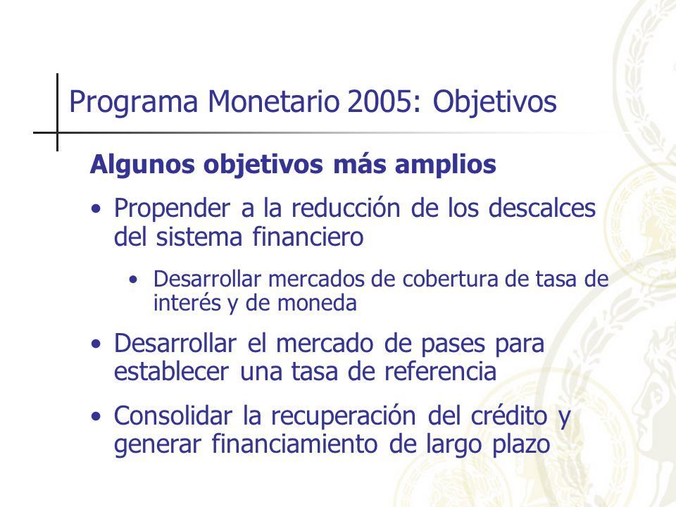 Política monetaria y el rol de la comunicación 2.El entendimiento aumenta la credibilidad Otras formas de comunicación Presentaciones al Congreso Conferencias y Seminarios Publicaciones Ocasionales Relevamiento de Expectativas del Mercado Por lo tanto, la transparencia y la comunicación aumentan significativamente la efectividad de la política monetaria