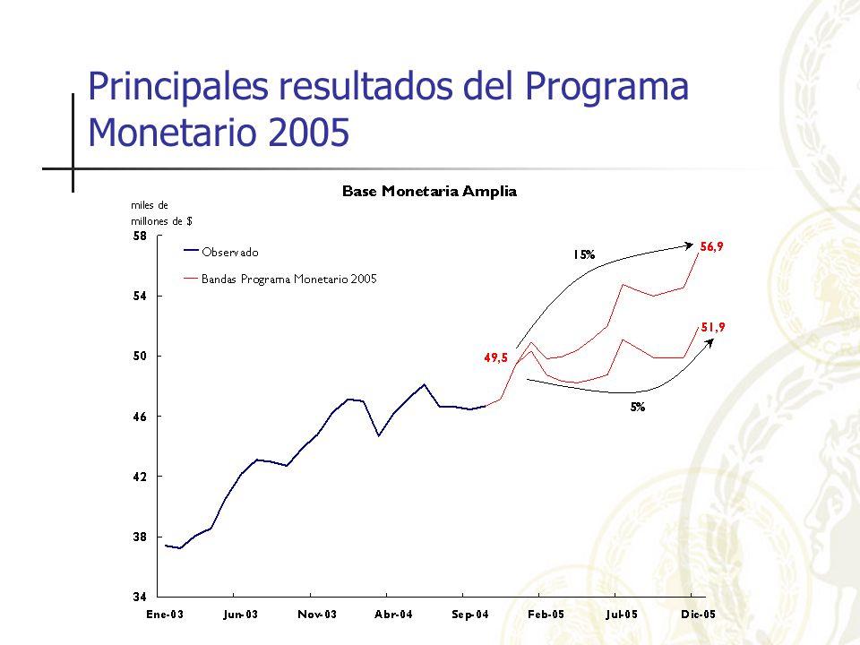 Principales resultados del Programa Monetario 2005