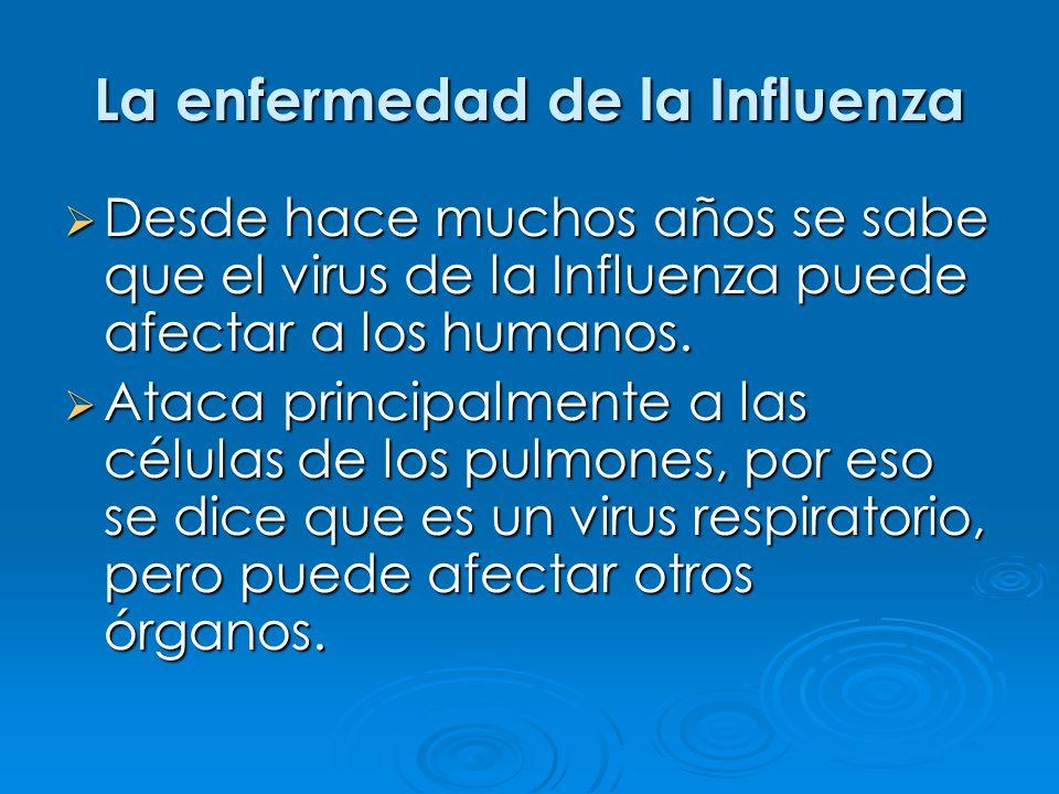 La enfermedad de la Influenza Desde hace muchos años se sabe que el virus de la Influenza puede afectar a los humanos. Desde hace muchos años se sabe