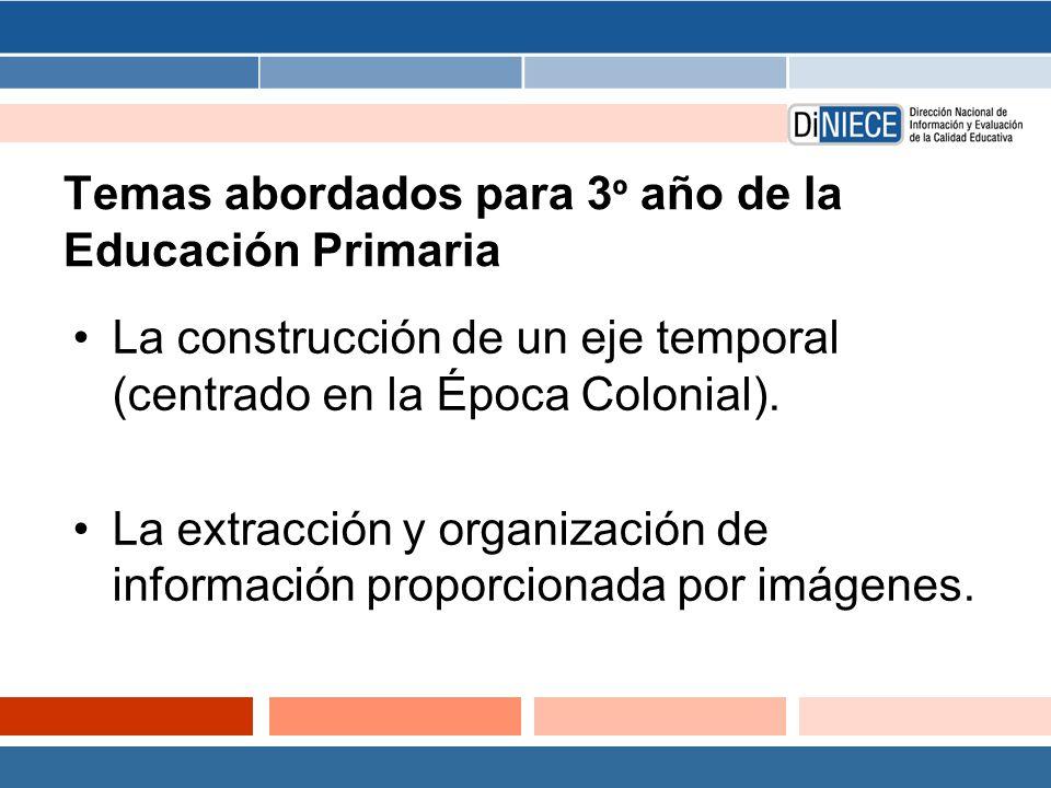 Temas abordados para 3 º año de la Educación Primaria La construcción de un eje temporal (centrado en la Época Colonial).