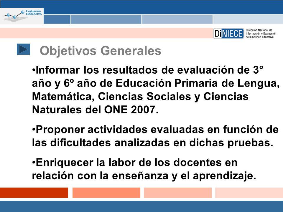 Objetivos Generales Informar los resultados de evaluación de 3° año y 6º año de Educación Primaria de Lengua, Matemática, Ciencias Sociales y Ciencias Naturales del ONE 2007.