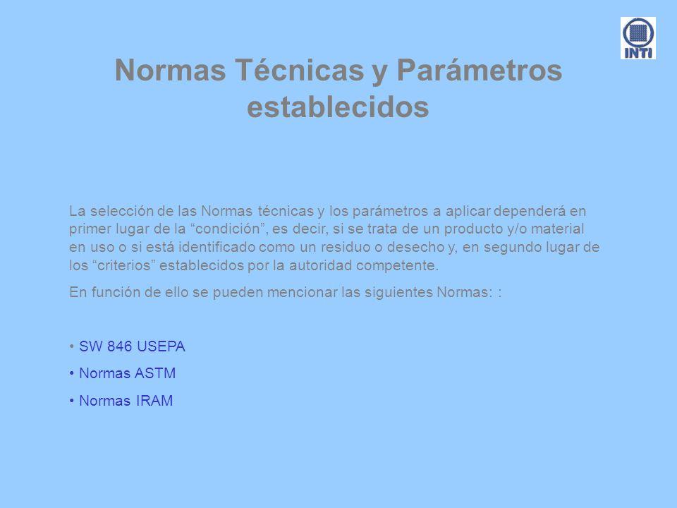 Normas Técnicas y Parámetros establecidos La selección de las Normas técnicas y los parámetros a aplicar dependerá en primer lugar de la condición, es