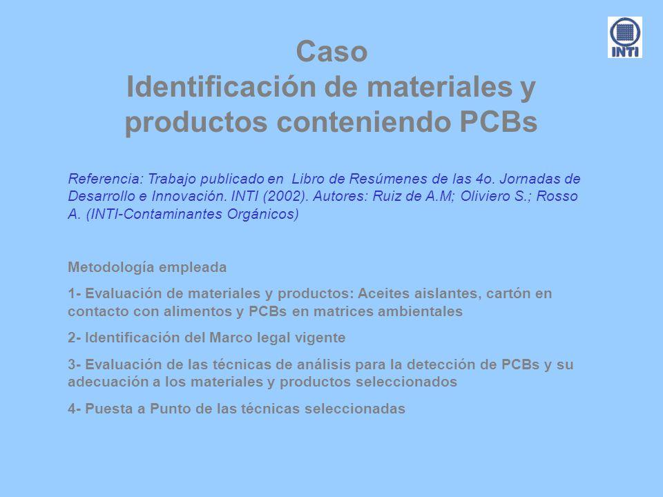 Caso Identificación de materiales y productos conteniendo PCBs Referencia: Trabajo publicado en Libro de Resúmenes de las 4o. Jornadas de Desarrollo e