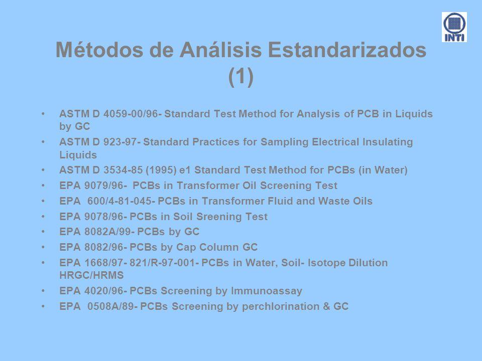 Métodos de Análisis Estandarizados (1) ASTM D 4059-00/96- Standard Test Method for Analysis of PCB in Liquids by GC ASTM D 923-97- Standard Practices