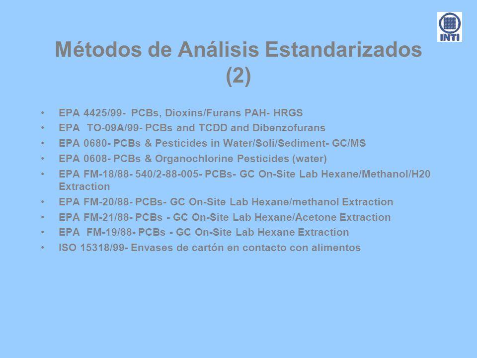 Métodos de Análisis Estandarizados (2) EPA 4425/99- PCBs, Dioxins/Furans PAH- HRGS EPA TO-09A/99- PCBs and TCDD and Dibenzofurans EPA 0680- PCBs & Pes
