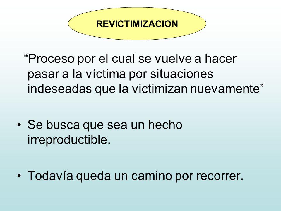 Proceso por el cual se vuelve a hacer pasar a la víctima por situaciones indeseadas que la victimizan nuevamente Se busca que sea un hecho irreproduct