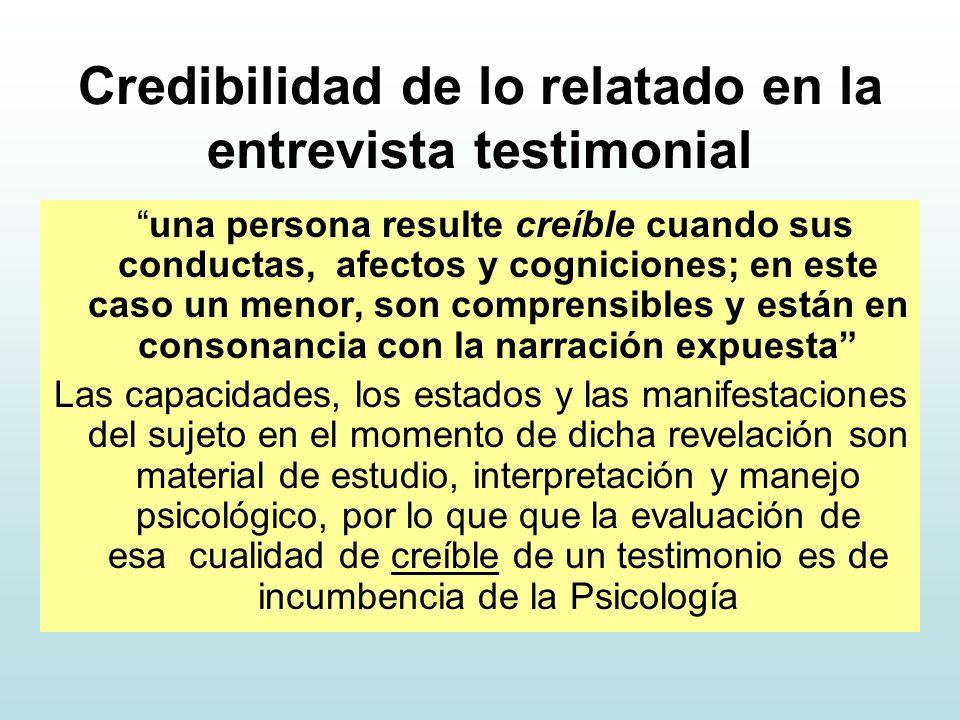 Credibilidad de lo relatado en la entrevista testimonial una persona resulte creíble cuando sus conductas, afectos y cogniciones; en este caso un menor, son comprensibles y están en consonancia con la narración expuesta Las capacidades, los estados y las manifestaciones del sujeto en el momento de dicha revelación son material de estudio, interpretación y manejo psicológico, por lo que que la evaluación de esa cualidad de creíble de un testimonio es de incumbencia de la Psicología