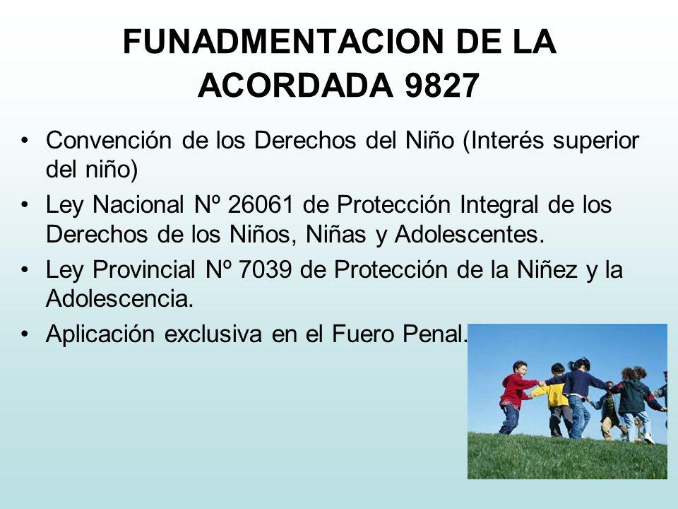 FUNADMENTACION DE LA ACORDADA 9827 Convención de los Derechos del Niño (Interés superior del niño) Ley Nacional Nº 26061 de Protección Integral de los Derechos de los Niños, Niñas y Adolescentes.