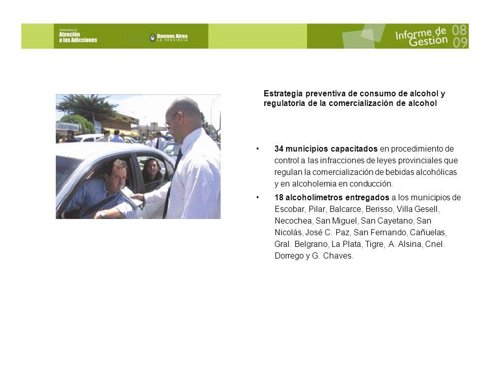 34 municipios capacitados en procedimiento de control a las infracciones de leyes provinciales que regulan la comercialización de bebidas alcohólicas y en alcoholemia en conducción.