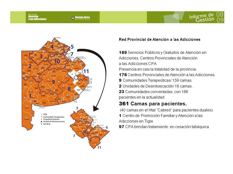 Red Provincial de Atención a las Adicciones 189 Servicios Públicos y Gratuitos de Atención en Adicciones, Centros Provinciales de Atención a las Adicciones CPA.