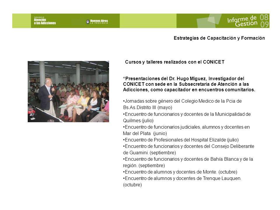 Cursos y talleres realizados con el CONICET Presentaciones del Dr.