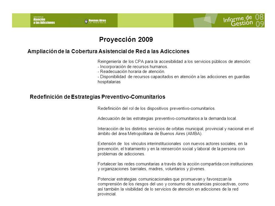 Proyección 2009 Reingeniería de los CPA para la accesibilidad a los servicios públicos de atención: - Incorporación de recursos humanos.