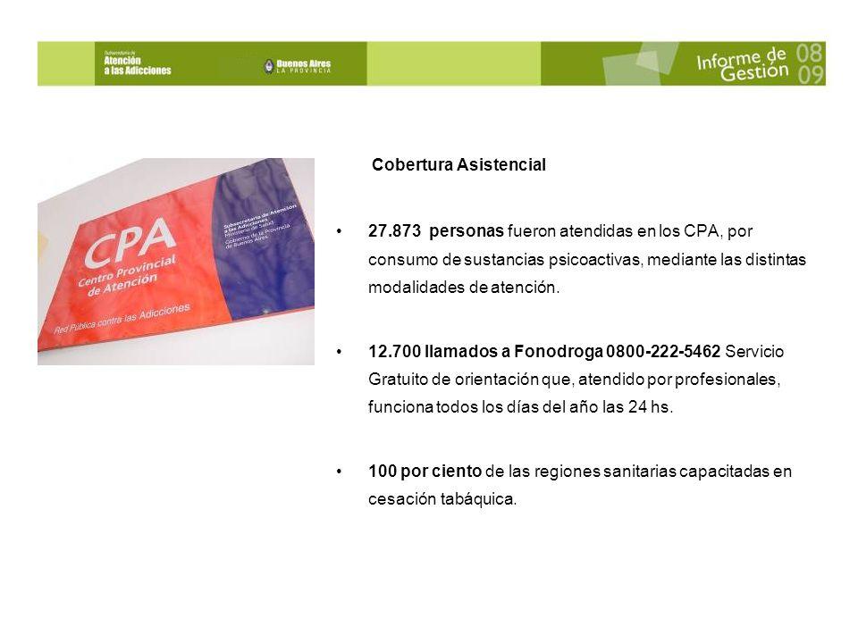 Cobertura Asistencial 27.873 personas fueron atendidas en los CPA, por consumo de sustancias psicoactivas, mediante las distintas modalidades de atención.