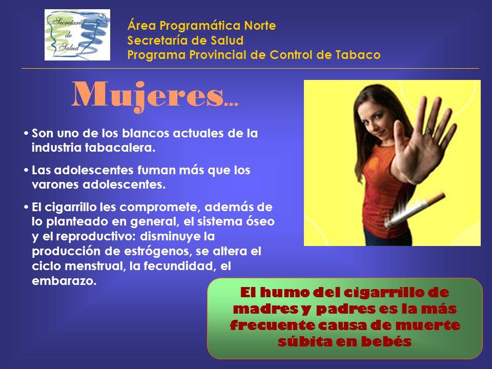 Área Programática Norte Secretaría de Salud Programa Provincial de Control de Tabaco Mujeres... Son uno de los blancos actuales de la industria tabaca