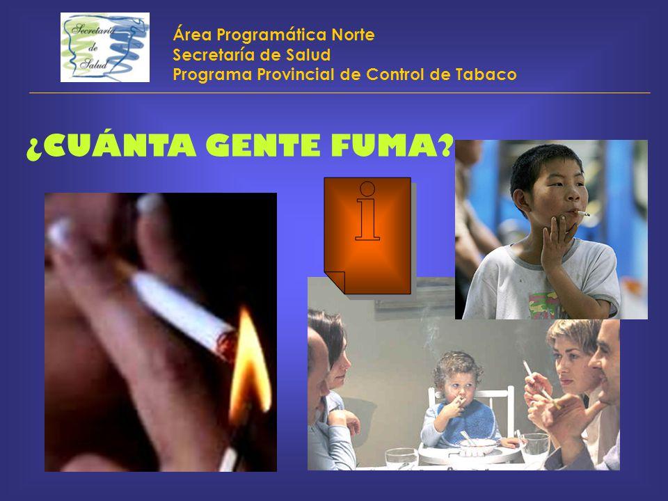 Área Programática Norte Secretaría de Salud Programa Provincial de Control de Tabaco ¿CUÁNTA GENTE FUMA?