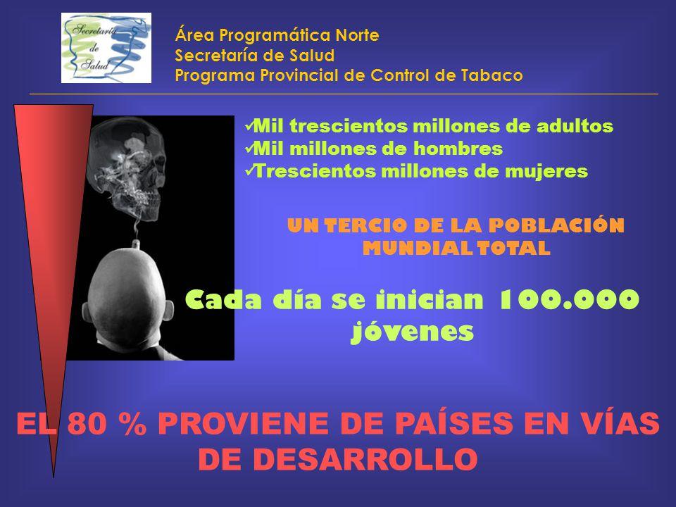 Área Programática Norte Secretaría de Salud Programa Provincial de Control de Tabaco Mil trescientos millones de adultos Mil millones de hombres Tresc