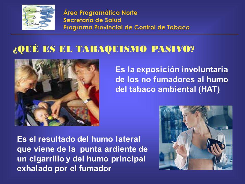 Área Programática Norte Secretaría de Salud Programa Provincial de Control de Tabaco ¿QUÉ ES EL TABAQUISMO PASIVO? Es la exposición involuntaria de lo