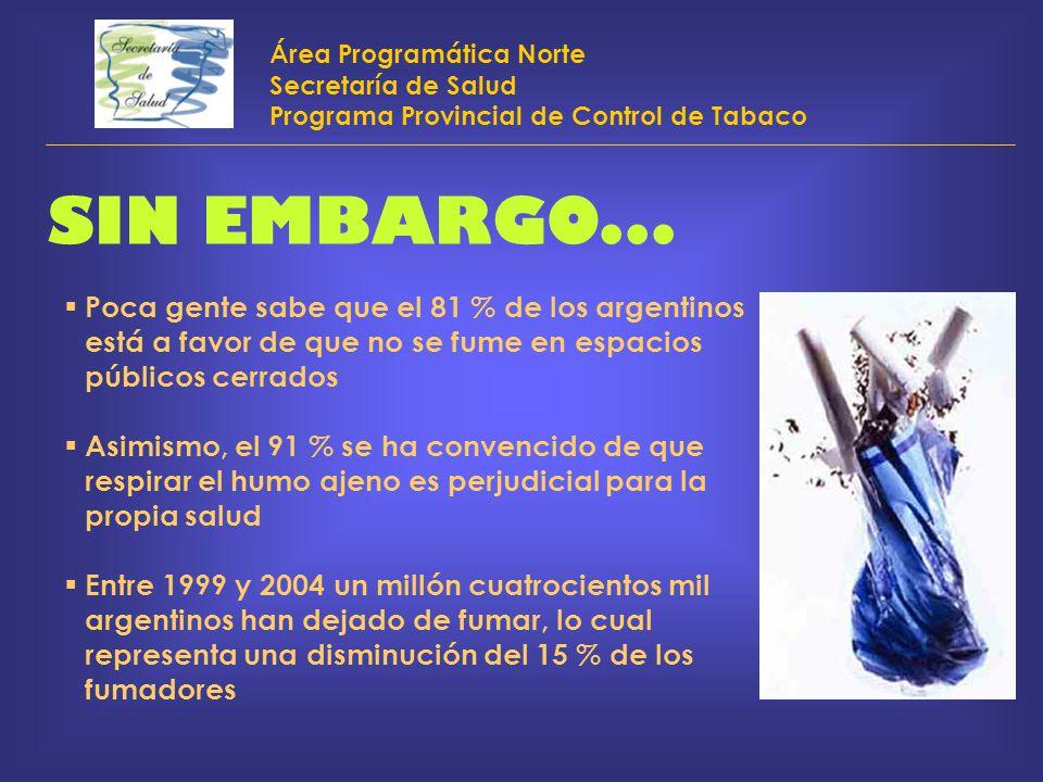 Área Programática Norte Secretaría de Salud Programa Provincial de Control de Tabaco SIN EMBARGO... Poca gente sabe que el 81 % de los argentinos está