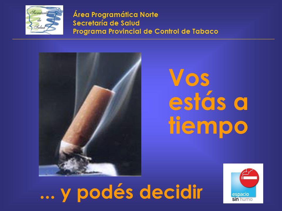 Área Programática Norte Secretaría de Salud Programa Provincial de Control de Tabaco Vos estás a tiempo... y podés decidir