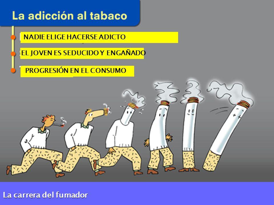 NADIE ELIGE HACERSE ADICTO EL JOVEN ES SEDUCIDO Y ENGAÑADO PROGRESIÓN EN EL CONSUMO La carrera del fumador