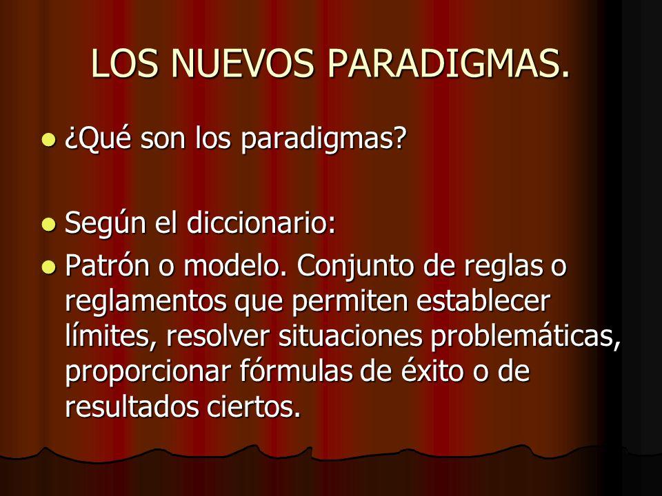LOS NUEVOS PARADIGMAS. ¿Qué son los paradigmas? ¿Qué son los paradigmas? Según el diccionario: Según el diccionario: Patrón o modelo. Conjunto de regl