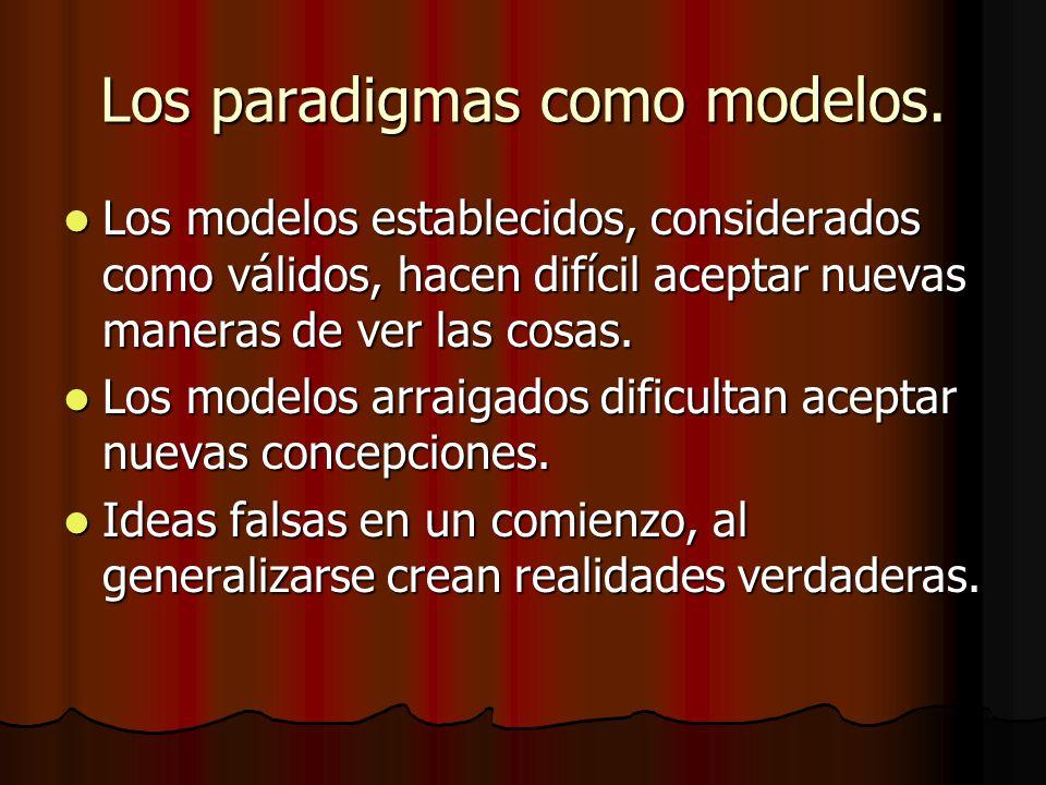 Los paradigmas como modelos. Los modelos establecidos, considerados como válidos, hacen difícil aceptar nuevas maneras de ver las cosas. Los modelos e