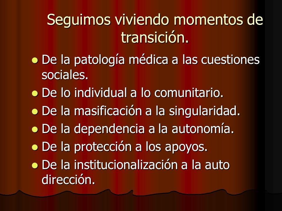 Seguimos viviendo momentos de transición. De la patología médica a las cuestiones sociales. De la patología médica a las cuestiones sociales. De lo in