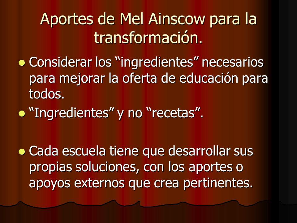 Aportes de Mel Ainscow para la transformación. Considerar los ingredientes necesarios para mejorar la oferta de educación para todos. Considerar los i