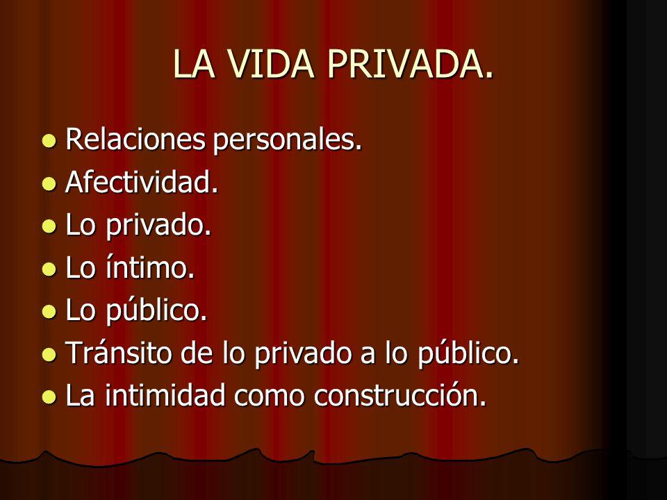 LA VIDA PRIVADA. Relaciones personales. Relaciones personales. Afectividad. Afectividad. Lo privado. Lo privado. Lo íntimo. Lo íntimo. Lo público. Lo