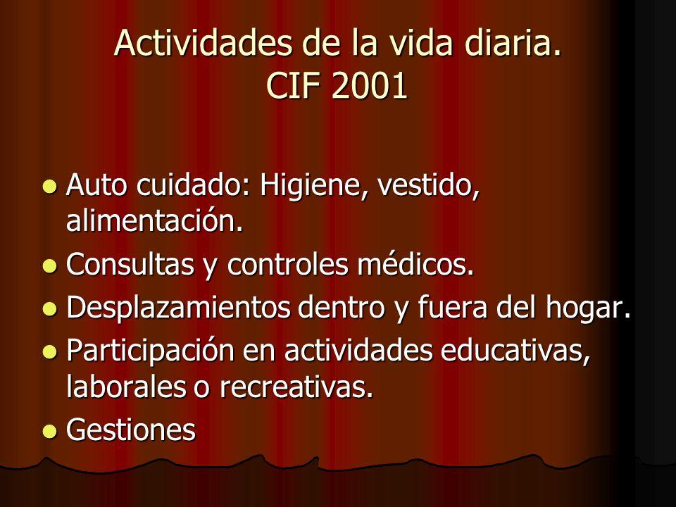 Actividades de la vida diaria. CIF 2001 Auto cuidado: Higiene, vestido, alimentación. Auto cuidado: Higiene, vestido, alimentación. Consultas y contro