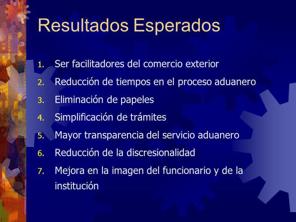 Resultados Esperados 1. Ser facilitadores del comercio exterior 2. Reducción de tiempos en el proceso aduanero 3. Eliminación de papeles 4. Simplifica