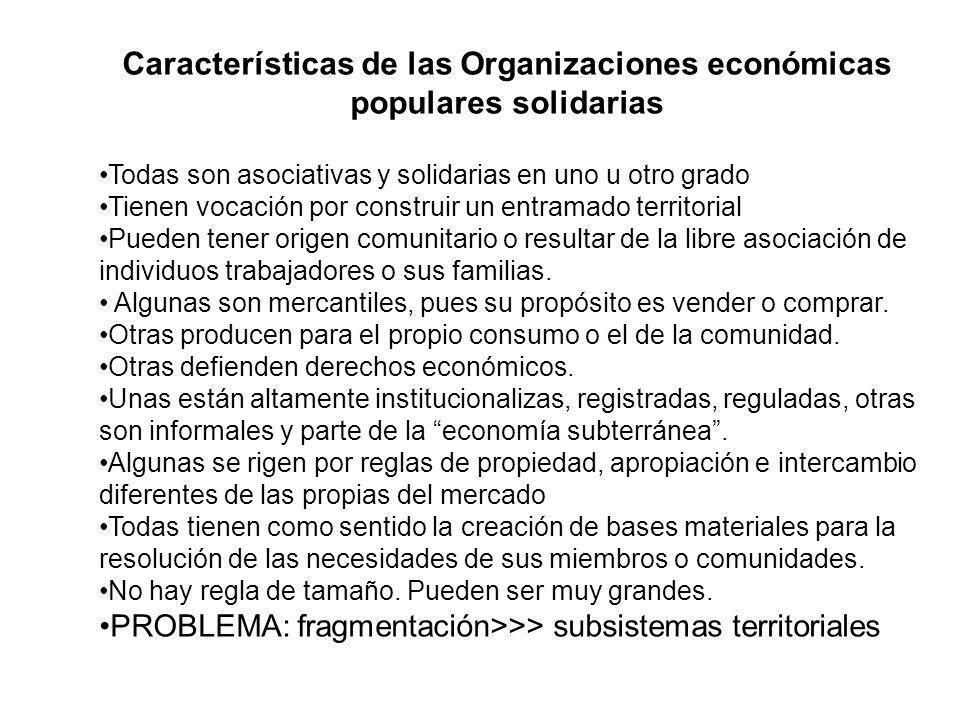 Características de las Organizaciones económicas populares solidarias Todas son asociativas y solidarias en uno u otro grado Tienen vocación por const